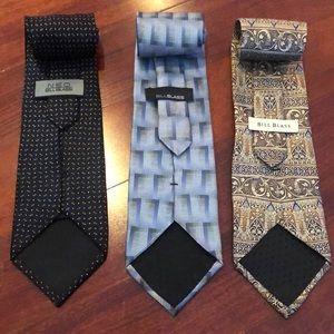 Set of 3 Bill Blass neckties 100% silk men's ties